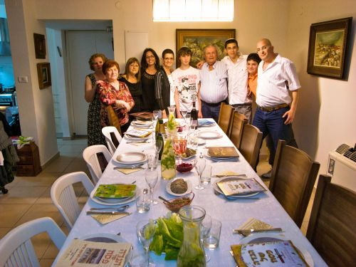 The whole family together for Passover in Israel.
