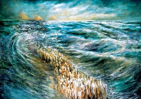 Kriat Yam Soof: The Splitting of the Red Sea. By Lidia Kozenitzky.