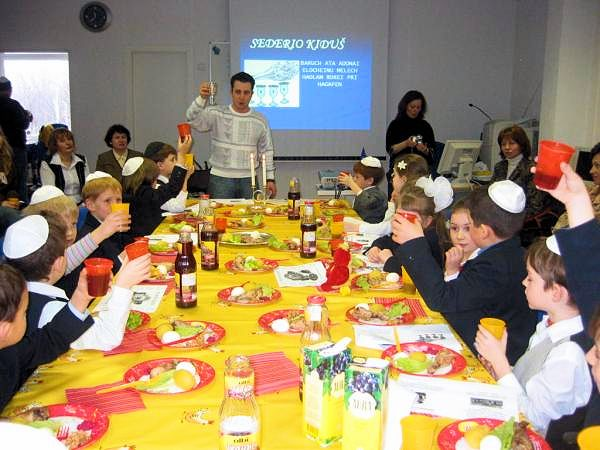 Passover eve dinner at Shalom Aleichem Jewish elementary school in Vilnius, Lithuania.