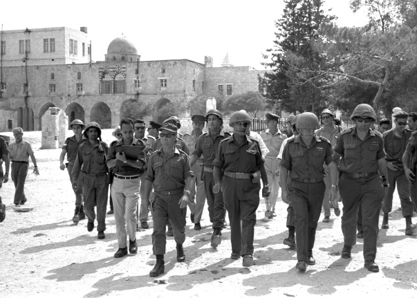 Defense Minister Moshe Dayan, Chief of Staff Yitzhak Rabin, General Rehavam Zeevi and General Uzi Narkis in the Old City of Jerusalem.