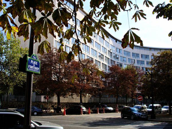 """UNESCO headquarters """"World Heritage Centre"""" at Place Fontenoy, Paris."""