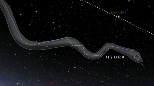 Constellation Hydra with artist's representation.