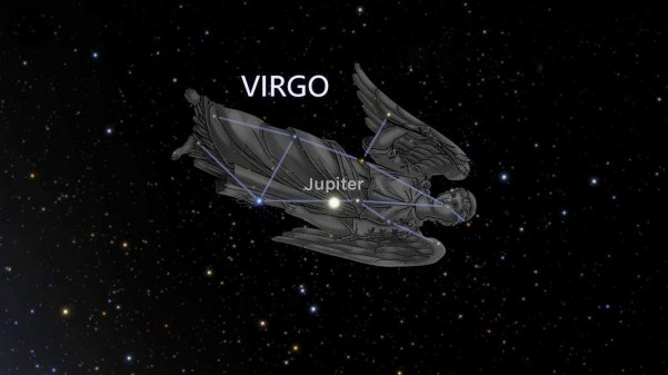 Constellation Virgo with artist's representation.