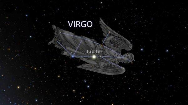 Constellation Virgo with artist's representation.