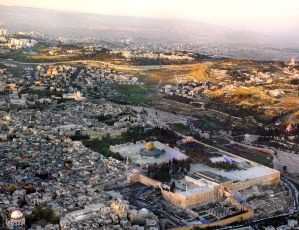 Sunset aerial view of the Temple Mount