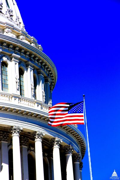 """Old Glory"" flying on the U.S. Capitol."