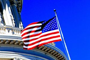 "Detail: ""Old Glory"" flying on the U.S. Capitol."