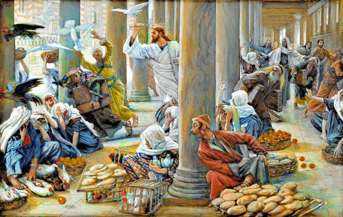Les vendeurs chassés du Temple (The Merchants Chased from the Temple). By James Tissot.