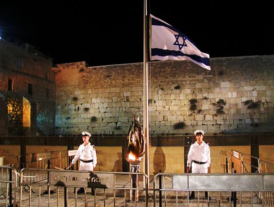 The Remembrance Torch Shines in the Western Wall Plaza.