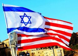 Israeli and American Flags Fly Side By Side in Jerusalem