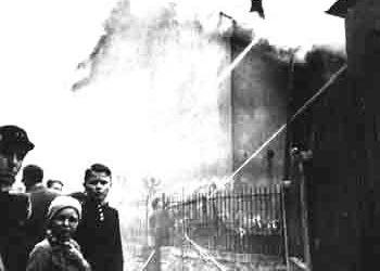 Burning synagogue on Kristallnacht in Nazi-Germany, November 10, 1938_5x7