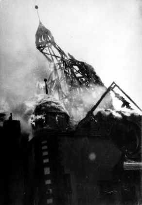 8_Synagogue of Siegen, Germany, in flames during Kristallnacht