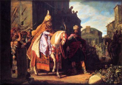 The triumph of Mordechai *oil on panel *52 x 71,5 cm *1617Haman Exalts Mordecai_Pieter Lastman